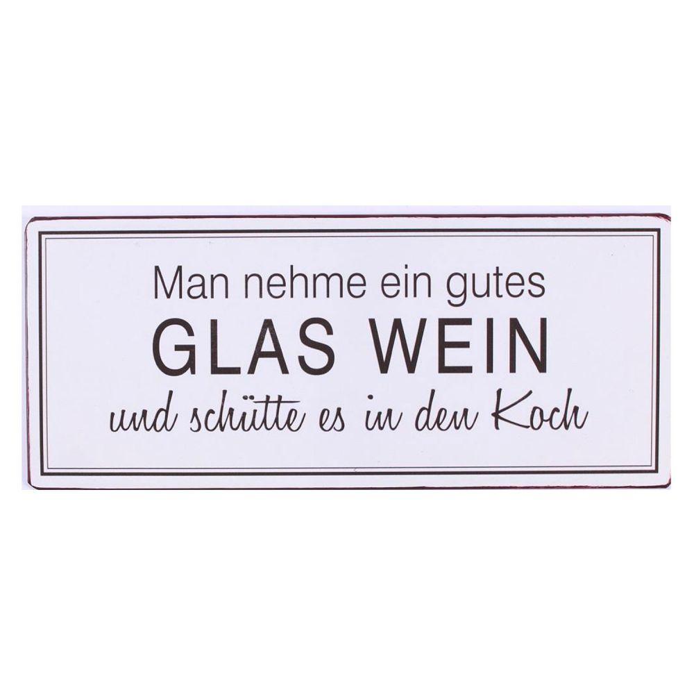 Dekoschild aus Blech - Man nehme ein gutes Glas Wein